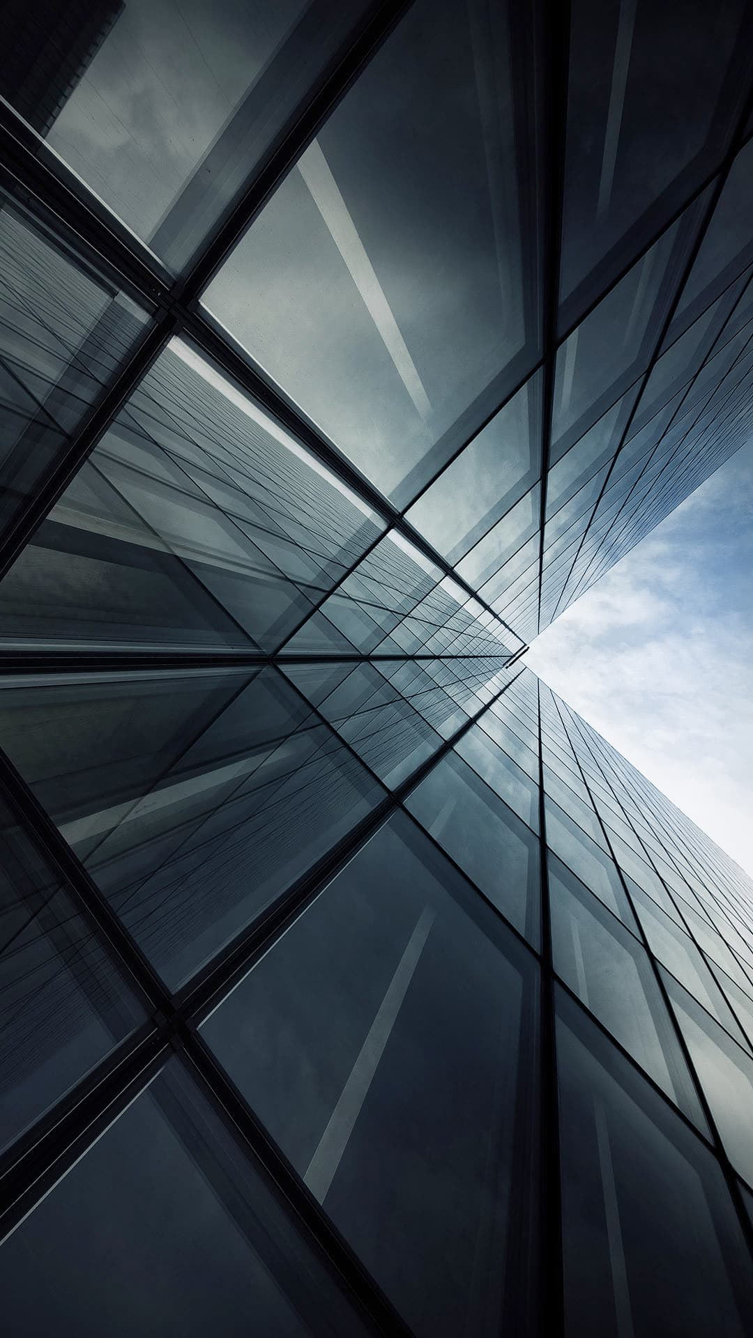 Tall Glass Building Look Up Grey Android Wallpaper