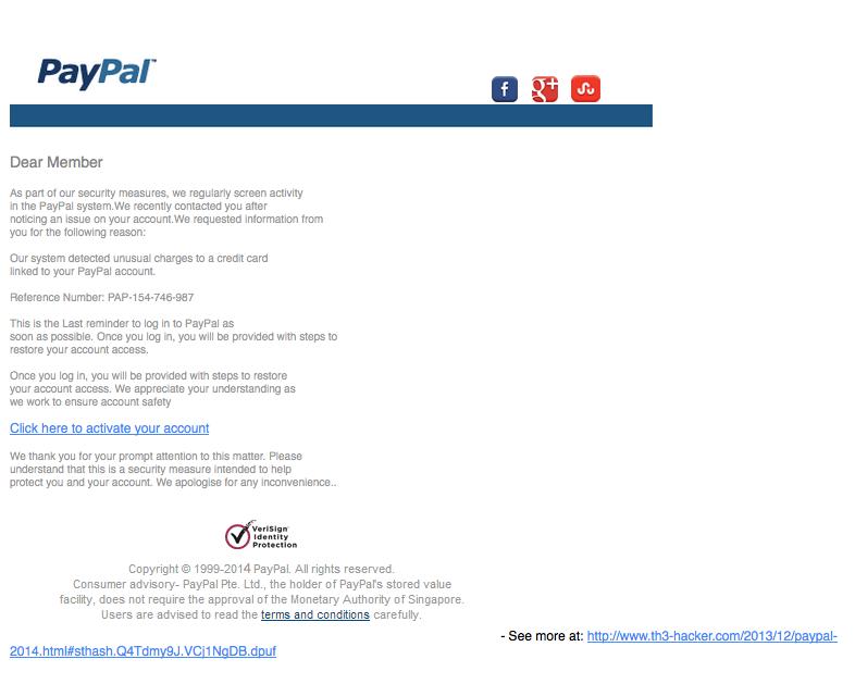 service@ppl.com Aggiungetelo ai Messaggi di posta Indesiderati! Nuovo tentativo di truffa PayPal!