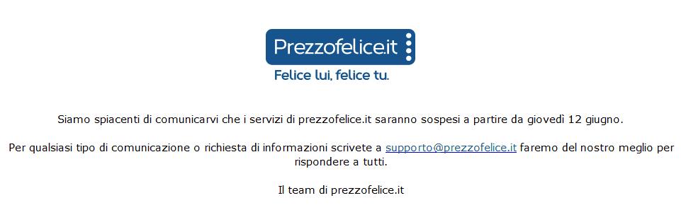 PrezzoFelice Chiuso