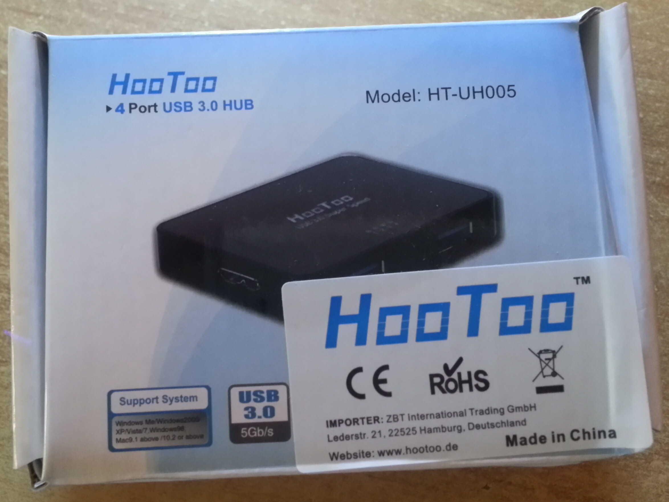 HooToo® HT-UH005 Ultra Slim Hub USB 3.0 SuperSpeed a 4 Porte (Chipset più recente VIA VL812, Adattatore di alimentazione 5V/2A