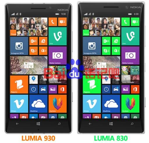 Immagine render Lumia 830 vs 930