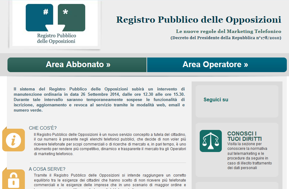 Registro Pubblico delle Opposizioni