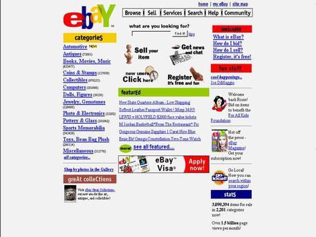 La Homepage di eBay nel 1995