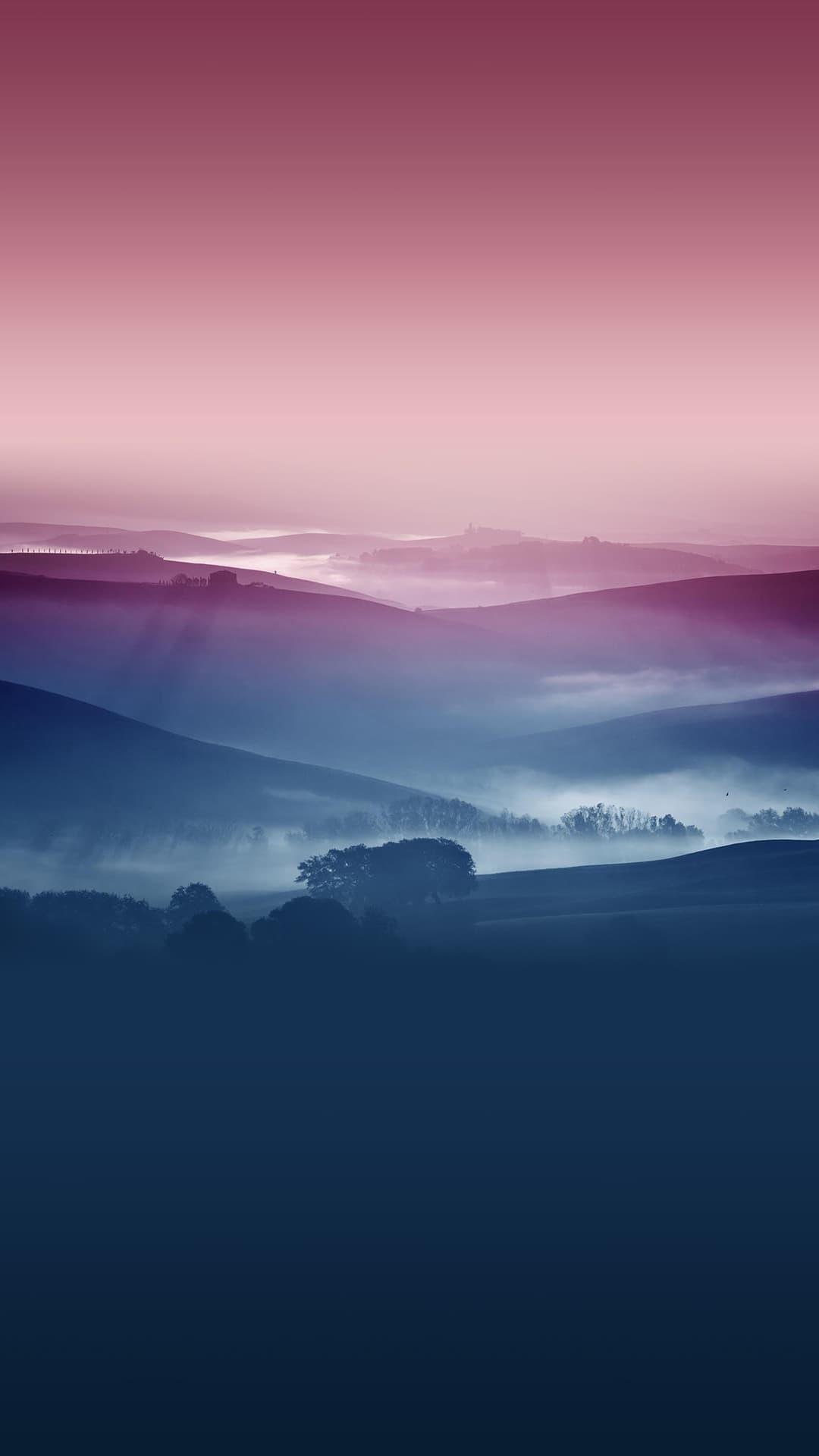 Misty Hills Landscape Android Wallpaper