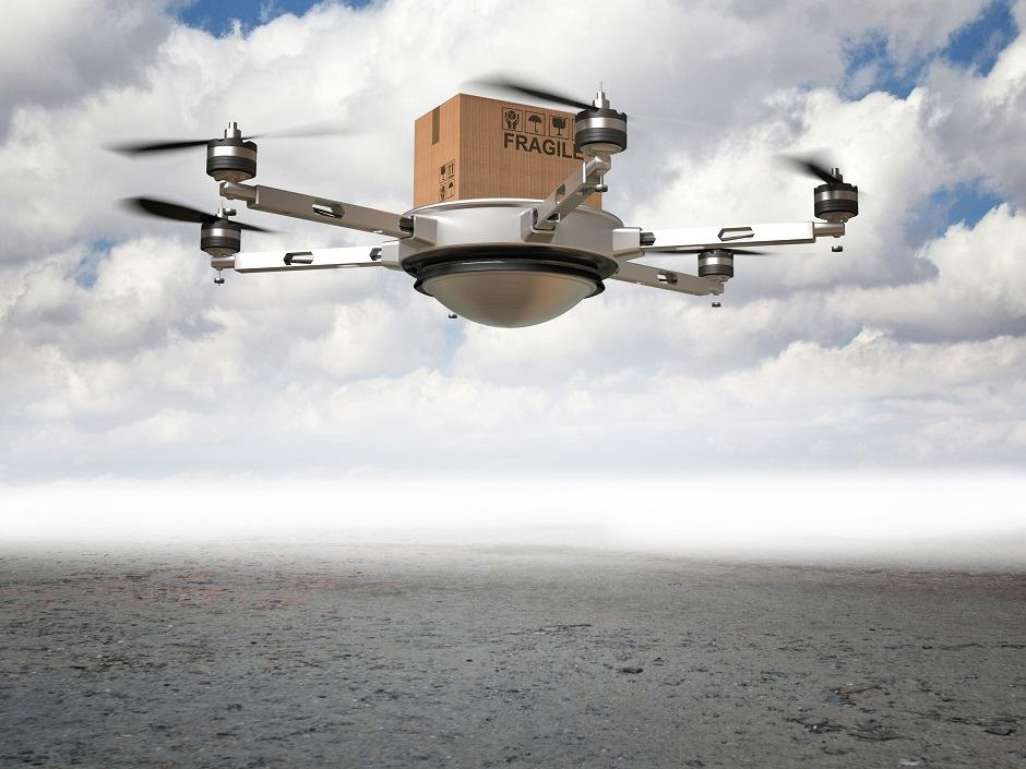 3d drone delivery in desert