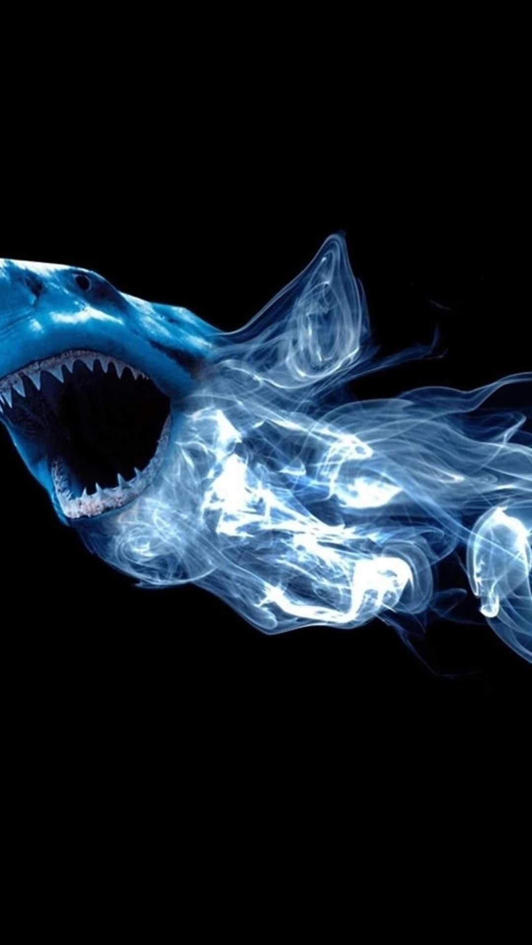 Abstract Shark Neon Light Smoke Android Wallpaper