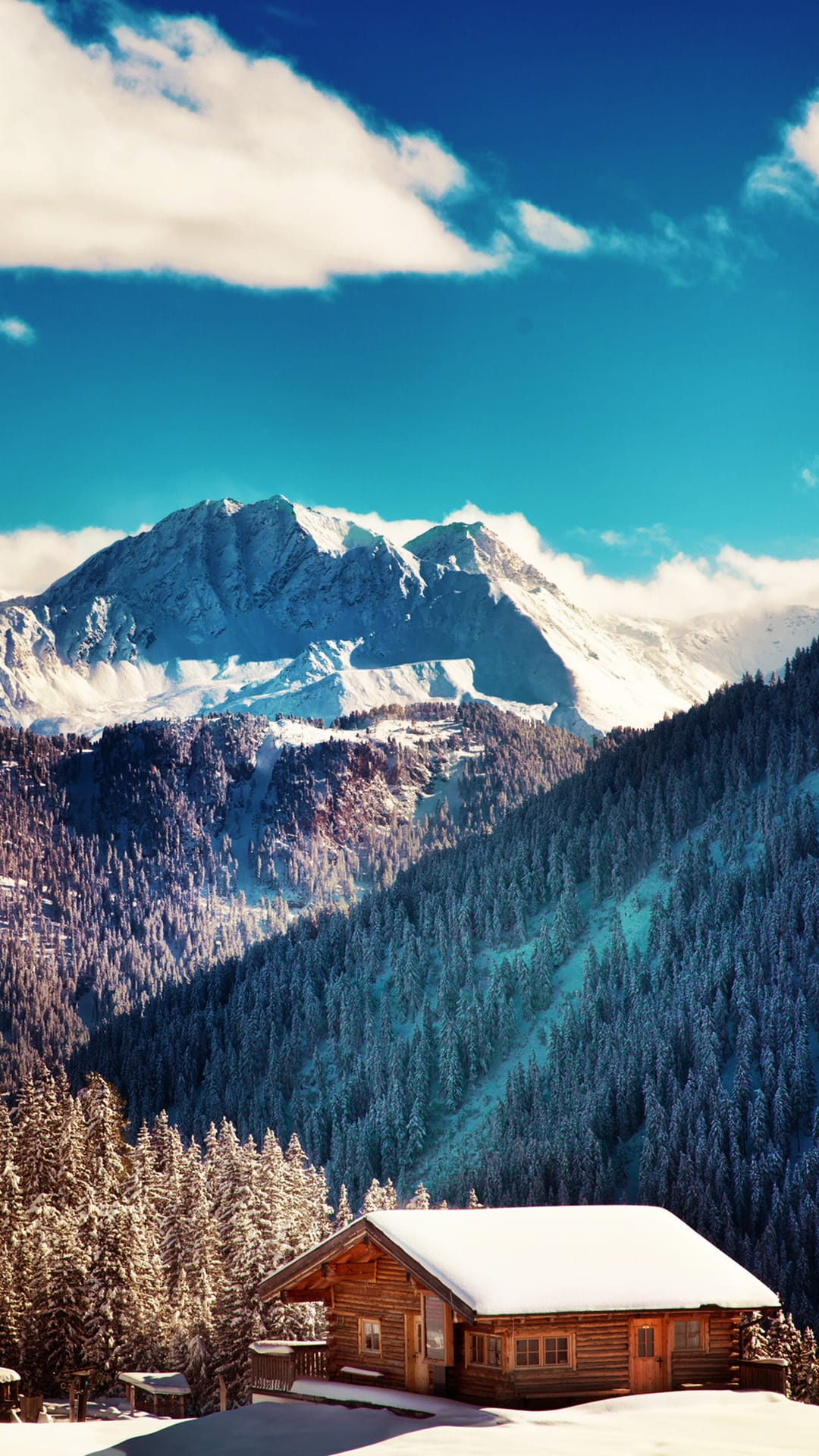 Mountains Chalet Blue Sky Android Wallpaper