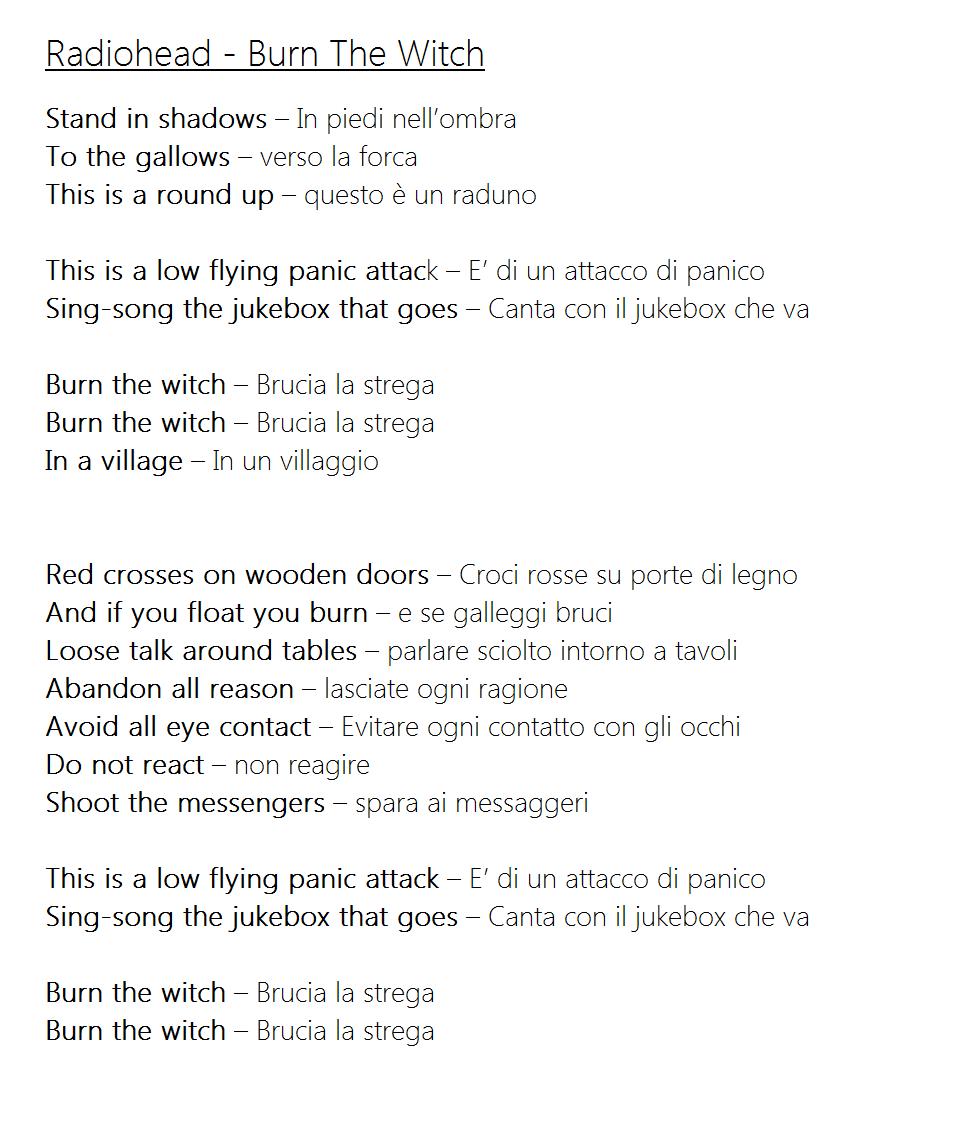 Radiohead, Burn The Witch - Ecco la traduzione in italiano della canzone