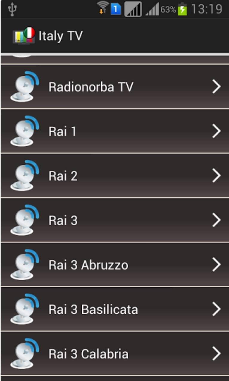 Guardare televisione satellitare italiana streaming android for Guardare la tv