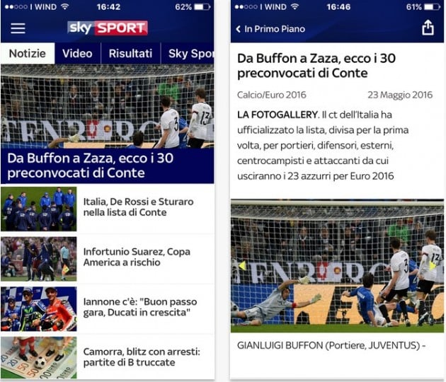 Sky Sport per iPhone e Android