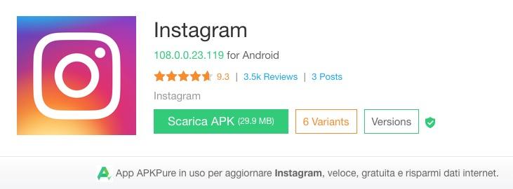 Dove scaricare Instagram senza Google Play Store