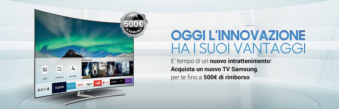 fino a 500 euro di rimborso se acquisti una tv samsung. Black Bedroom Furniture Sets. Home Design Ideas