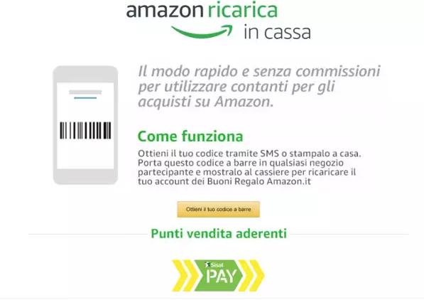 Amazon Ricarica in Cassa, come comprare su Amazon senza carta di credito
