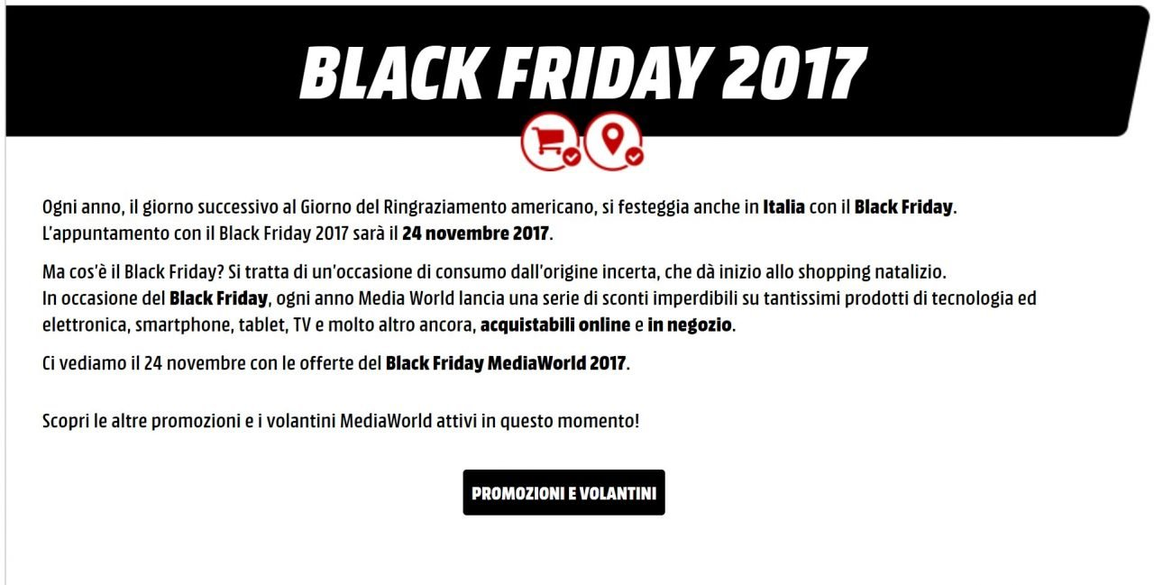 black friday 2017 mediaworld si prepara cos. Black Bedroom Furniture Sets. Home Design Ideas