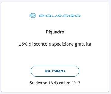 6d1ecd9f29 Codice coupon sconto Piquadro 15% fino al 18 Dicembre grazie a PayPal!