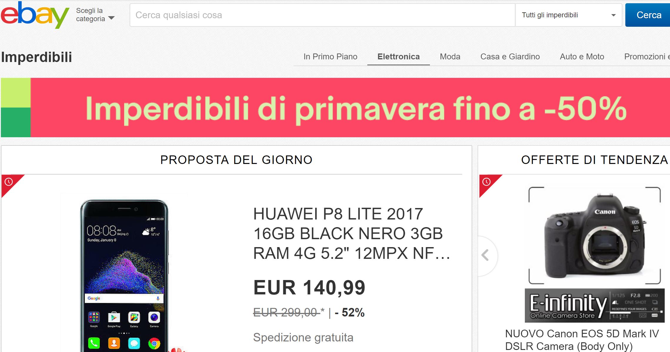 Ecco gli imperdibili di primavera di ebay sconti fino al 50 for Sconti coupon amazon