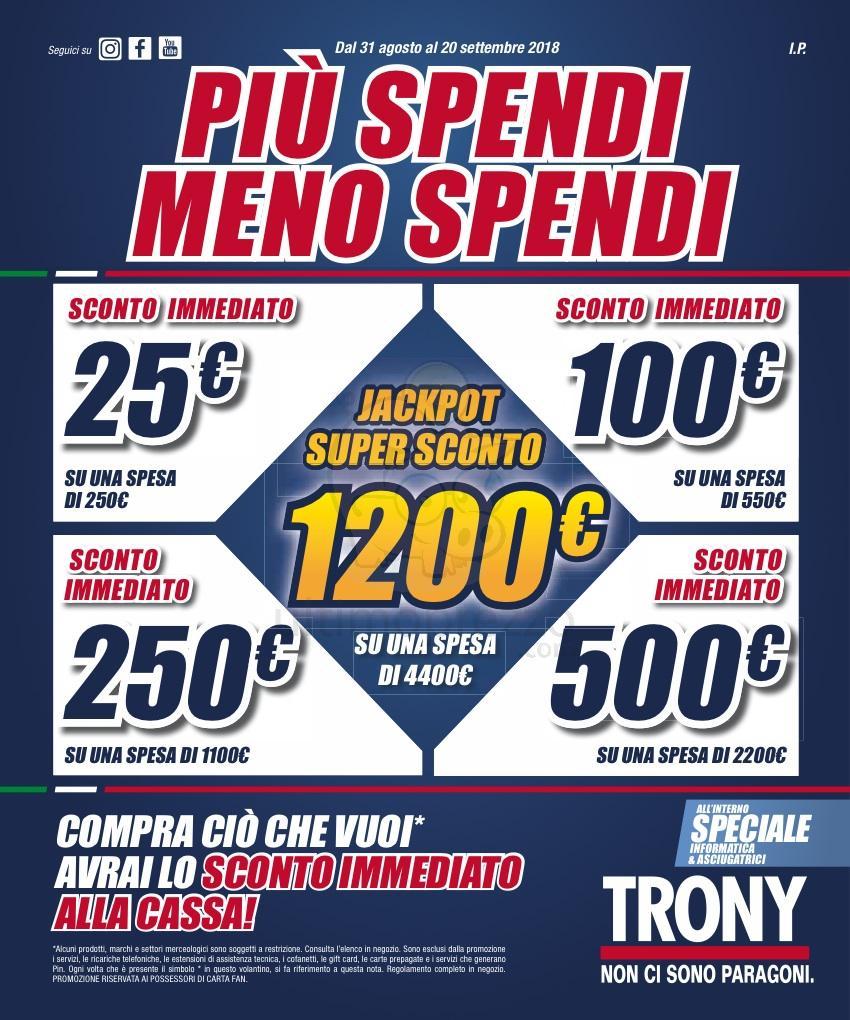 41354eb3b43e2 TRONY ti regala Buoni Sconto fino a 1200 euro nel volantino di settembre  2018
