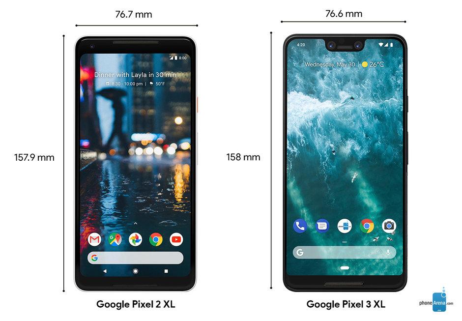 Confronto dimensioni traGoogle Pixel 2 XL eGoogle Pixel 3 XL