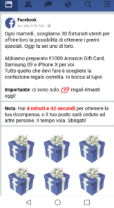 "Truffa ""€1000 Amazon Gif Card, Samsung S9 e iPhone X"""