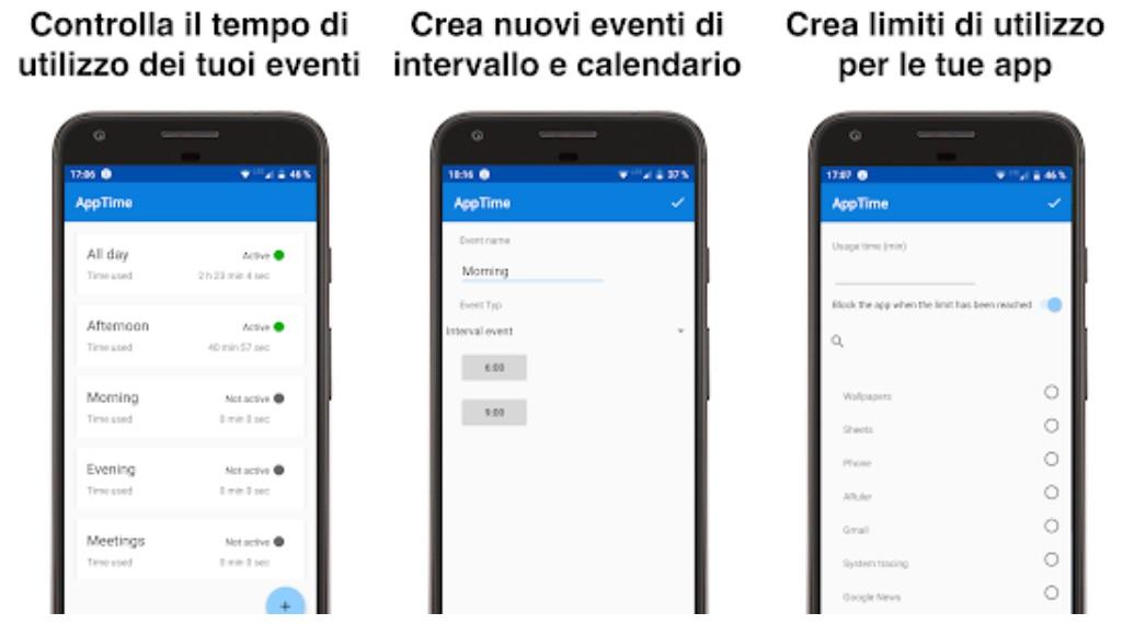 AppTime Android COntare Tempo uso App su Smartphone Android