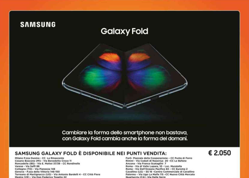 Volantino Galaxy Fold Unieuro