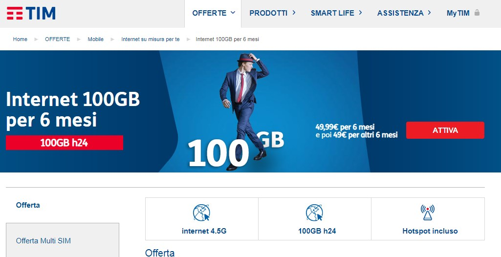 Tariffe solo Internet SIM TIM