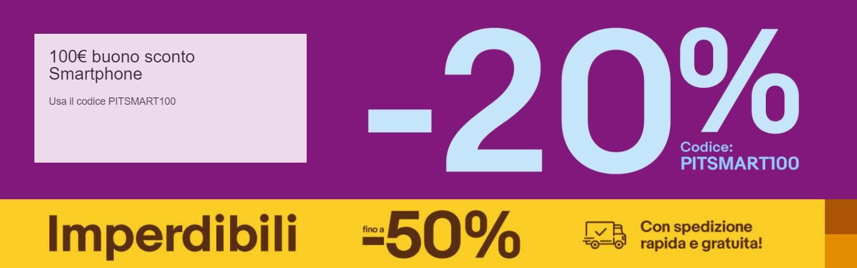 5f583e04a4 eBay: Codice Sconto 20% e Imperdibili 50% aprile-maggio 2019