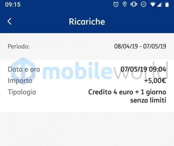 Ricarica 5 euro TIM solo 4 euro
