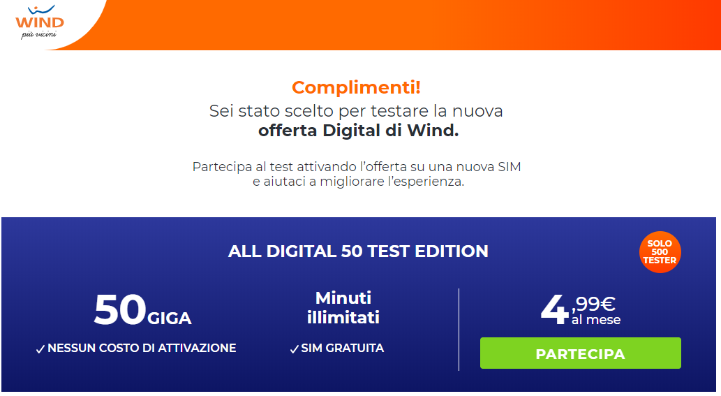 Come attivare Wind All Digital 50 Test Edition