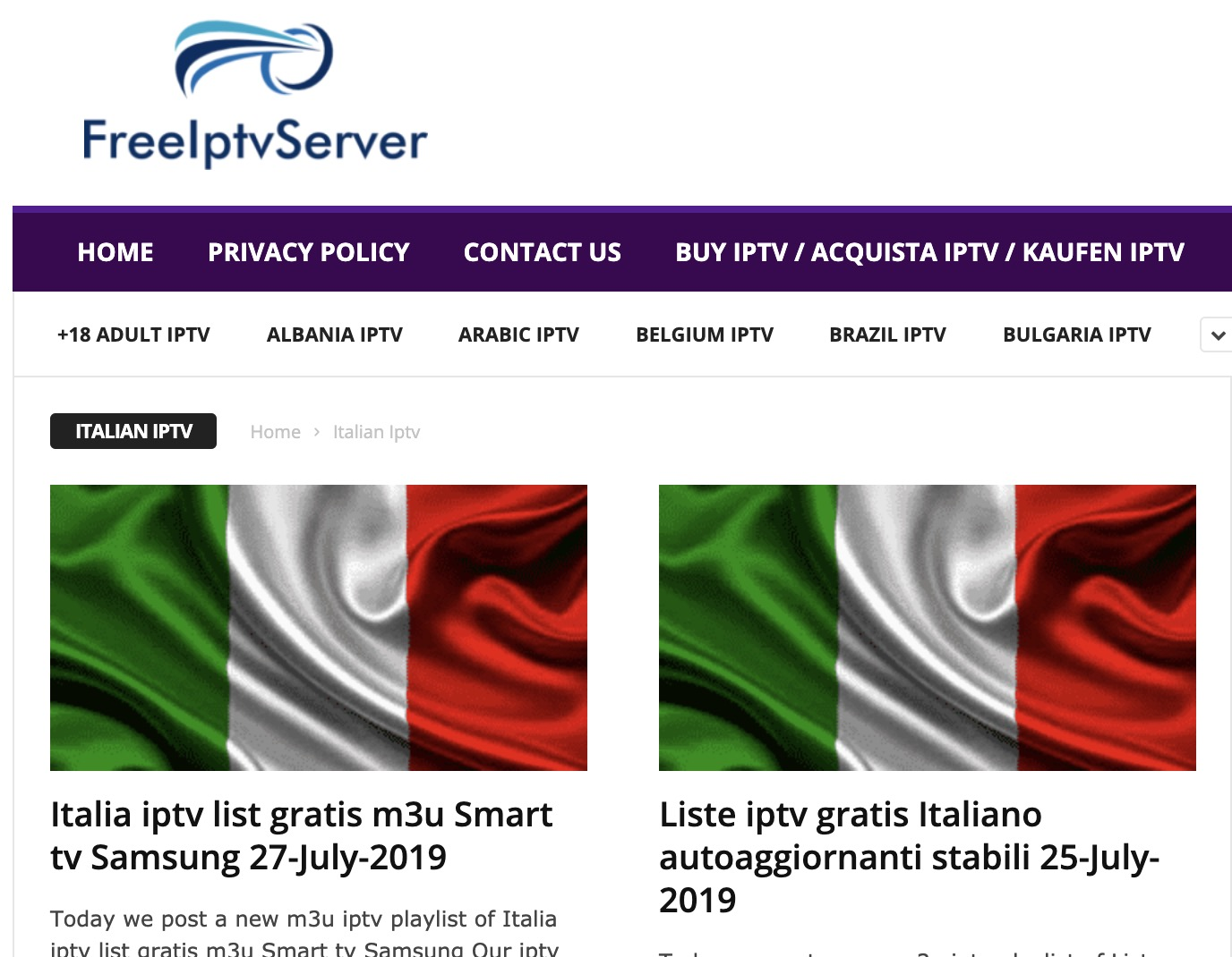 Liste IPTV Italia gratis suFreeIPTV
