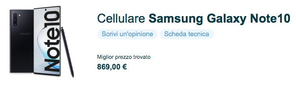 Samsung Galaxy Note 10 Plus Prezzo