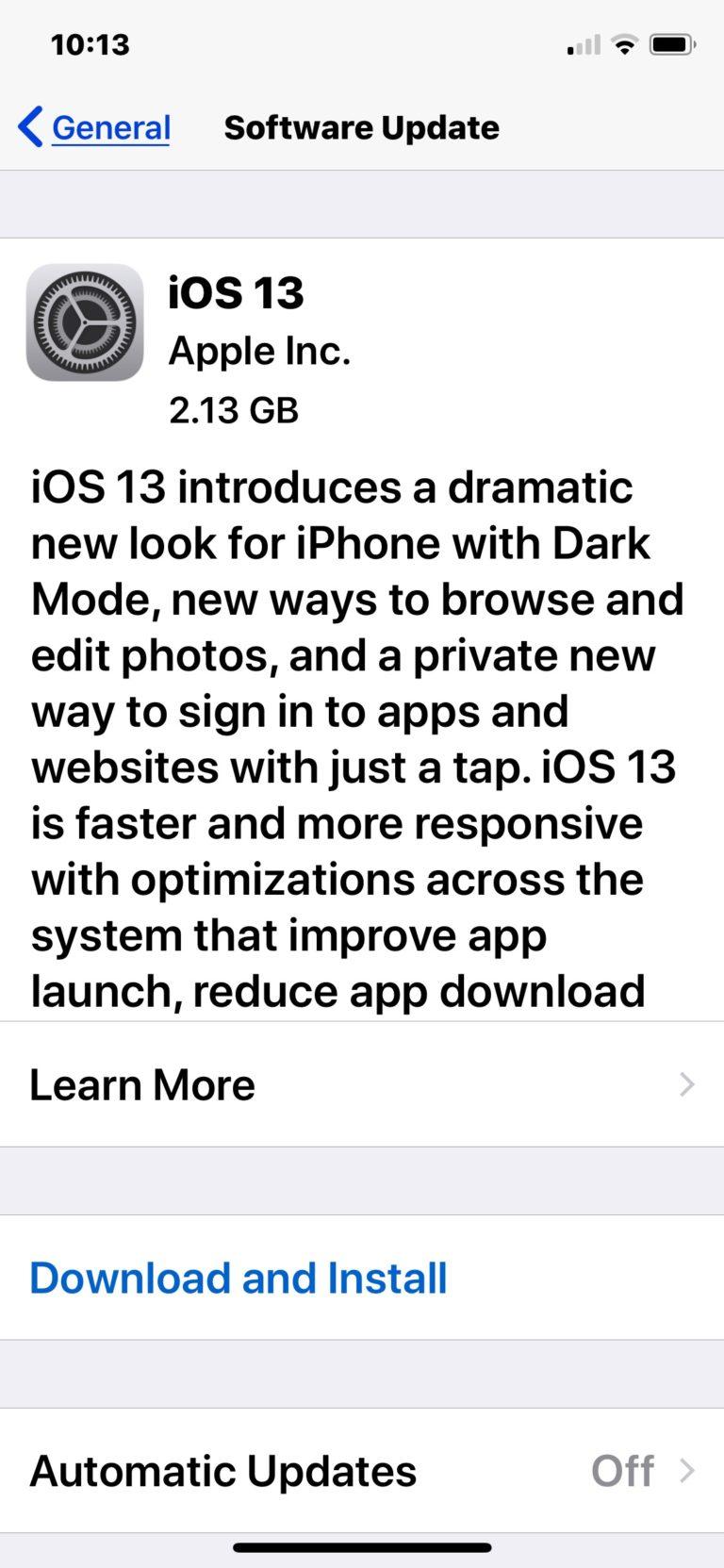 Quanto pesa iOS 13