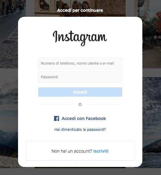 Instagram accedi per continuare