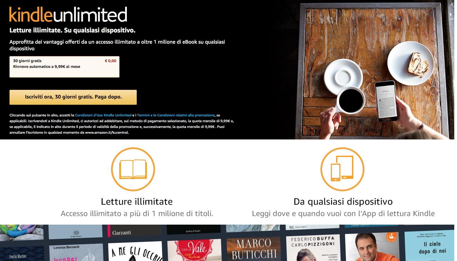 Kindle Unlimited Gratis per 3 mesi