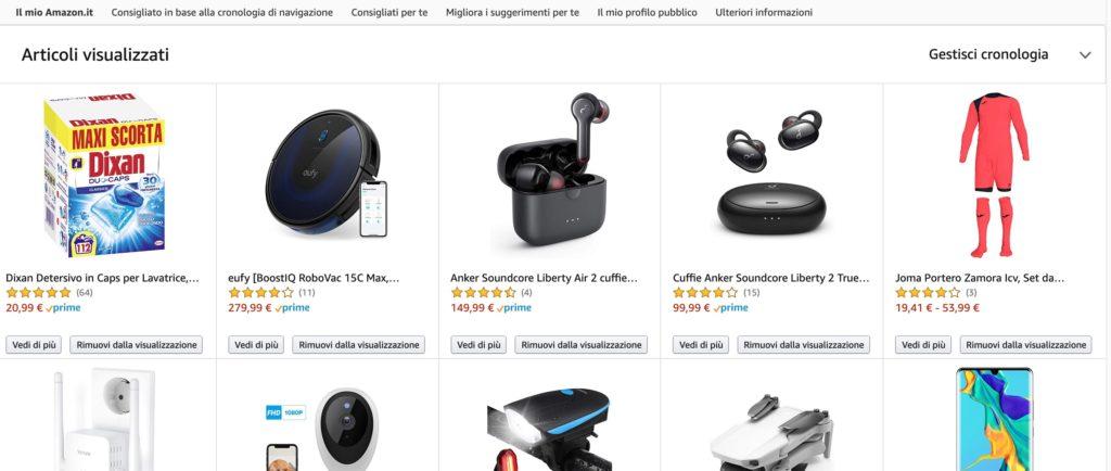 Cancellare cronologia ricerche Amazon