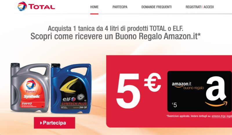 buono Amazon da 5 euro con Total ed Elf