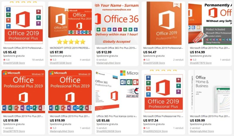 Office 2019 e Office 365 su AliExpress