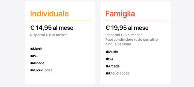 Apple One costo prezzi